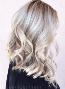 Platinum highlights on blonde hair