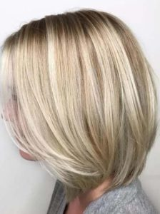 Blond highlights in short hair