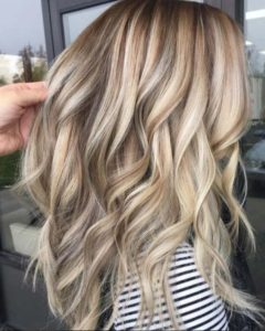 Blonde highlights with capillary contouring (balayage)