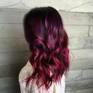 A lot of pink for your dark hair with highlights