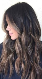 different options of dark hair with highlights