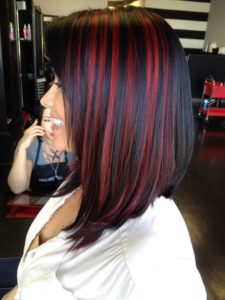 Black with red highlights
