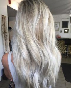 Blonde with silver highlights