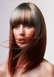 Red hair silver highlights