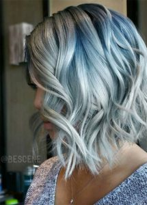 Silver hair with blue highlights