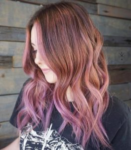 Brown Hair with Pink Highlights