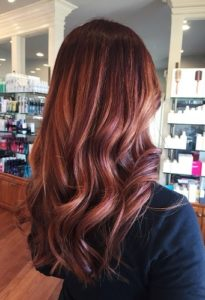 Dark Brown Hair with Gold Rose Highlights