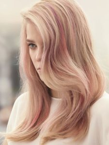 Blonde Hair with Gold Rose Highlights