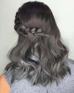 Dark Brown Hair with Grey Highlights