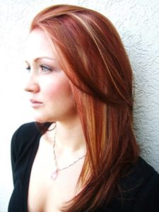Red hair with silver highlights