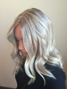 Blonde hair with grey and platinum highlights