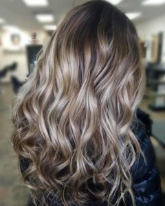 Light brown hair with platinum highlights