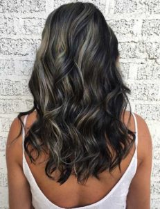 Dark hair with grey and platinum highlights