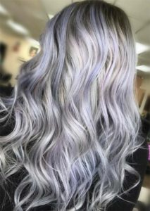 Purple hair with grey and platinum highlights