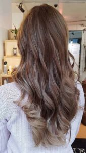 Balayage effect and chocolate highlights