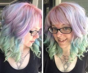 Bangs with highlight fantasy pastel colors