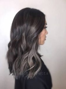 Black hair with ash brown highlights