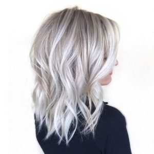 Blonde hair with white highlights