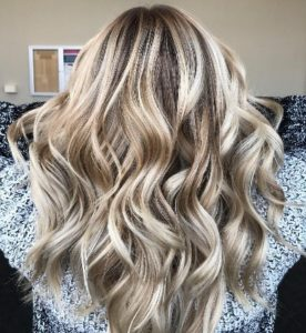 Bold dimensional highlights for blonde hair