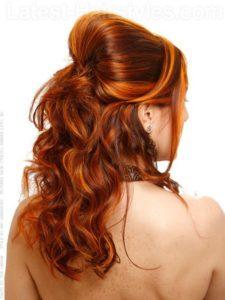Brown hair with orange highlights