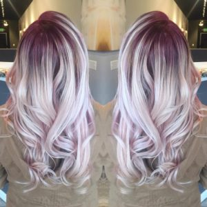 Burgundy hair with blond highlights
