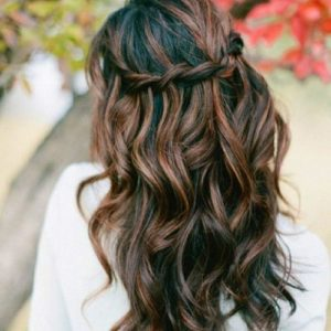 Dark or black hair with honey highlights