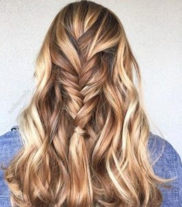 Golden blonde hair with caramel highlights