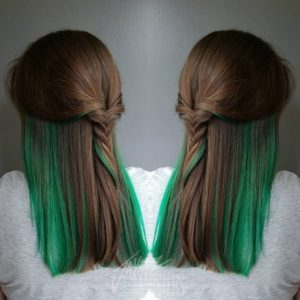 Green highlights on brown hair