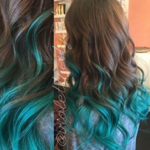 Teal Highlights in your brown hair
