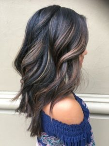 black hair with dimensional highlights