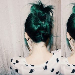 can apply a ombre effect on your hair with green tones