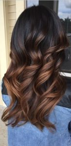 ombre effect with light chocolate highlights