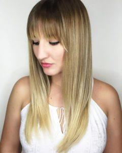 right highlights with bangs