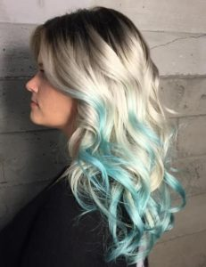 teal highlights to naturally gorgeous blonde hair