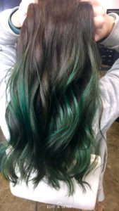 your brown hair with green highlights